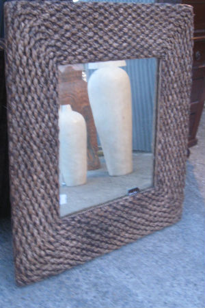 Rattan Beveled Mirror. Made from Natural Material.