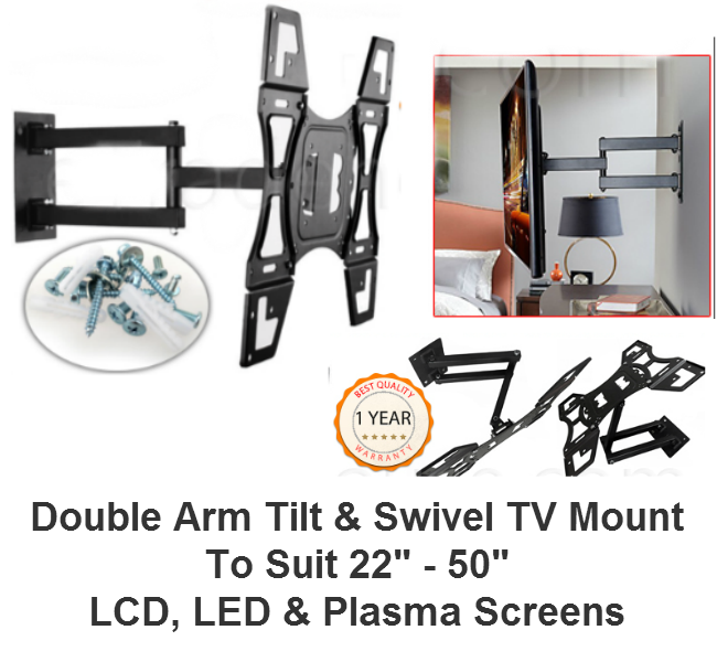 "14""-55"" Double Arm Tilt & Swivel TV Mount"