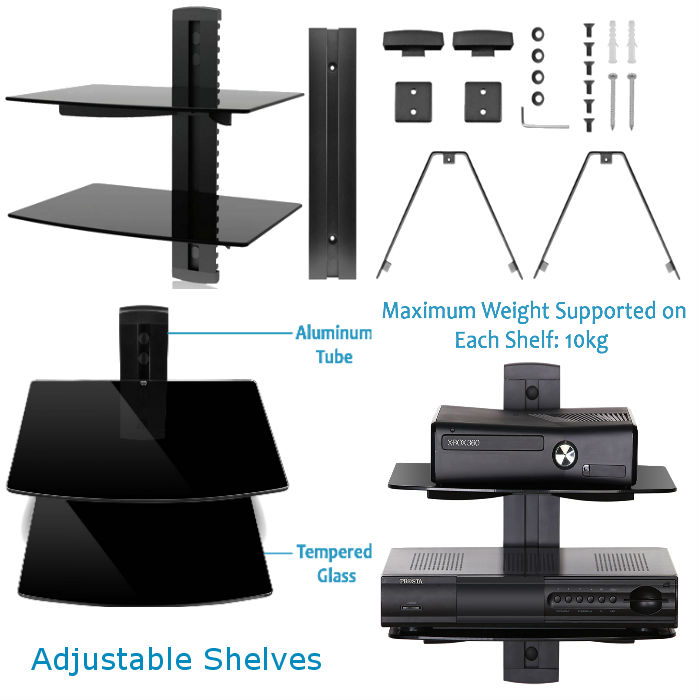 AV 2 Tier Floating Glass Shelving Unit - Black