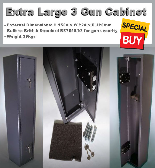 Extra Large 3 Gun Cabinets & Gun Safes - Grey