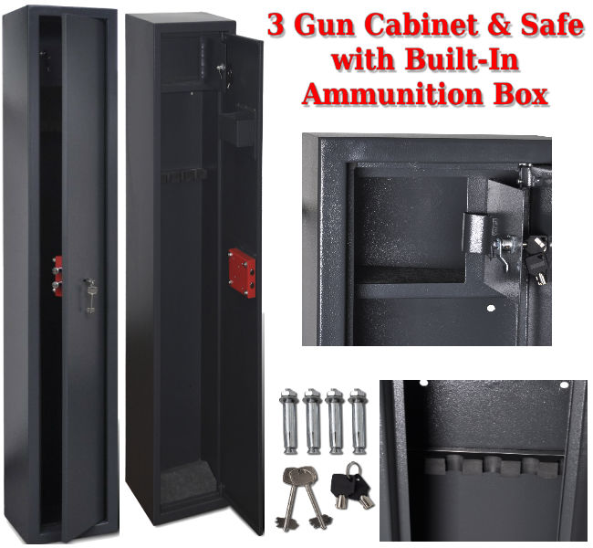 Gun Safe with Built-In Ammunition Box