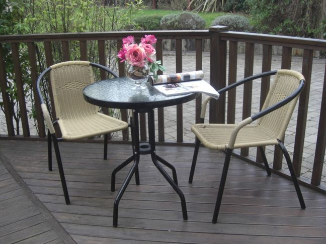 3 Piece Rattan Steel Bistro Set Stacking Chairs