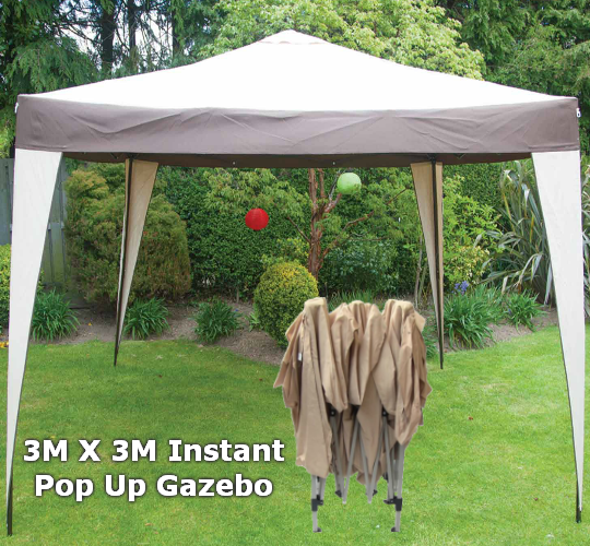 3M X 3M Pop Up Gazebo - No Side Walls - Olive Green