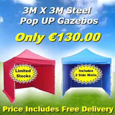 3M x 3M Pop Up Gazebo - Including 3 Side Walls