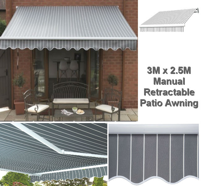 3M x 2.5M Grey & White Stripe Patio Awning