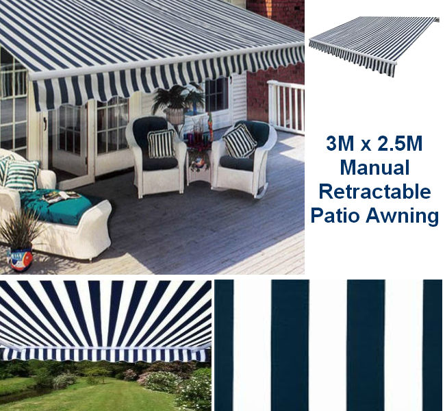 3M x 2.5M Blue & White Stripe Patio Awning