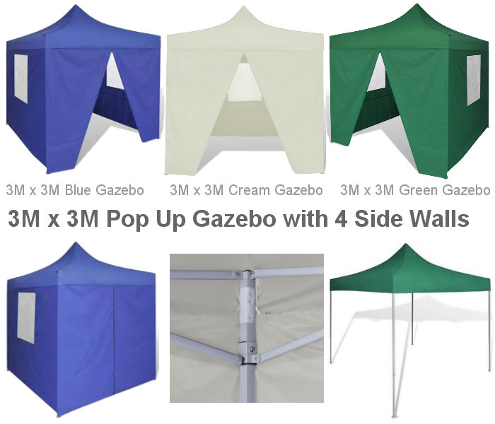3M x 3M Instant Pop Up Gazebo with 4 Side Walls