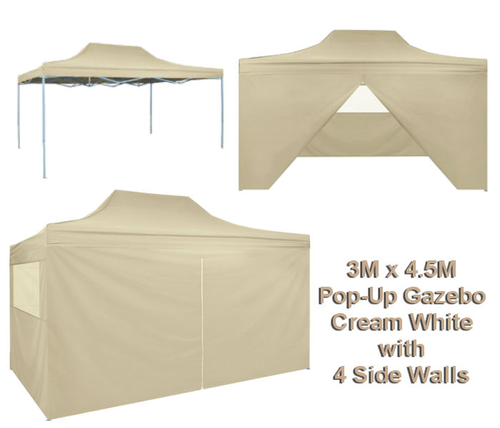 4.5M x 3M Cream Pop-Up Gazebo