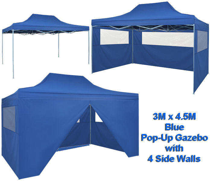 4.5M X3M Blue Pop-Up Gazebo