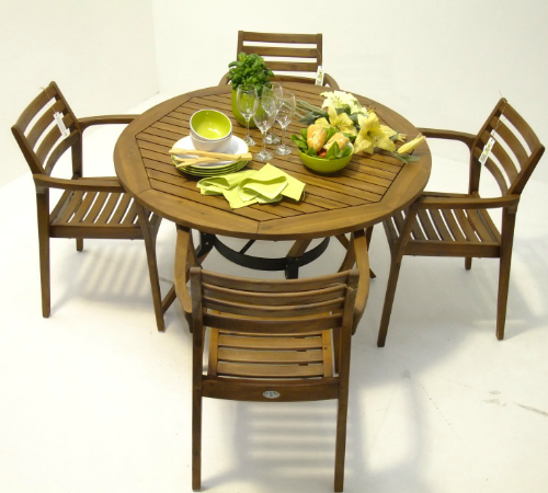 4 Seater Sunqueen Dining Set, Round Wooden Garden Table And Chairs Ireland