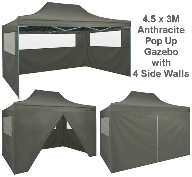 4.54.6M x 3M Anthracite Pop-Up Gazebo - Party Tent