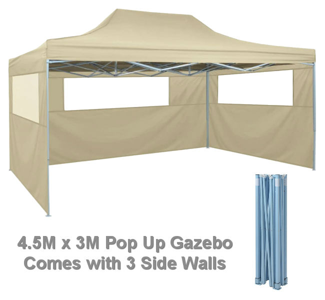 4.5M x 3M Cream Pop Up Gazebo with 3 Side Walls