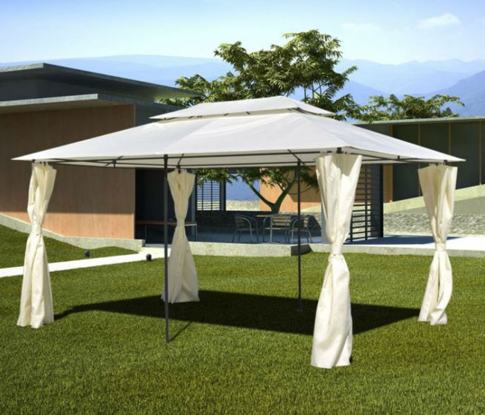 Garden Gazebo with Side Curtains