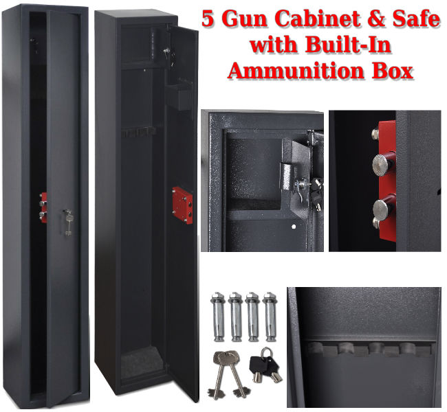 5 Gun Safe with Built-In Ammunition Box