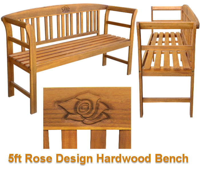 5ft Rose Design Hardwood Bench