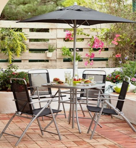 6 Piece Patio Set Steel & Textilene