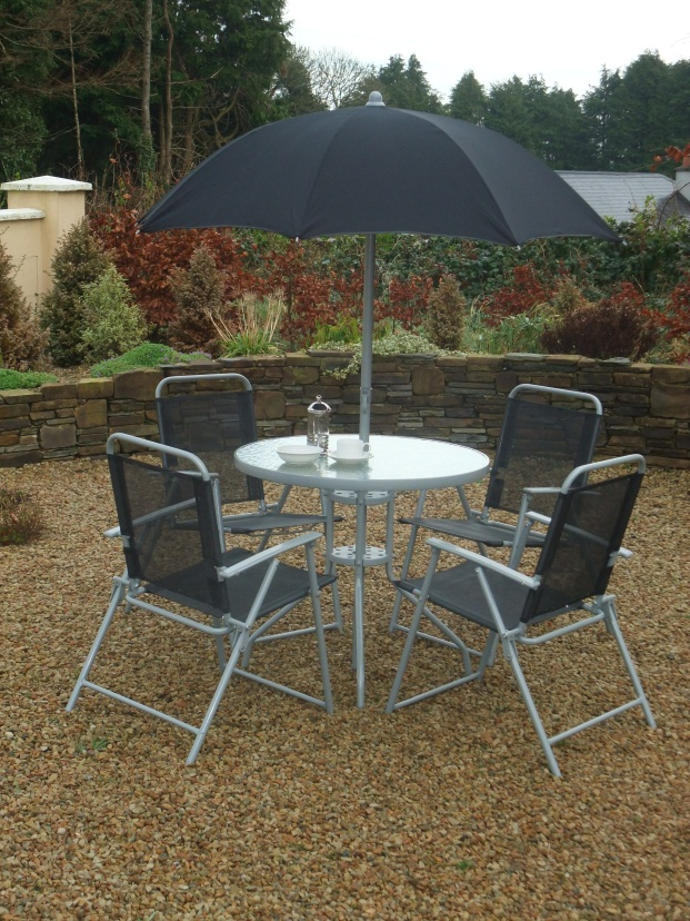 6 Piece Steel and Silver & Black Textilene Patio Set