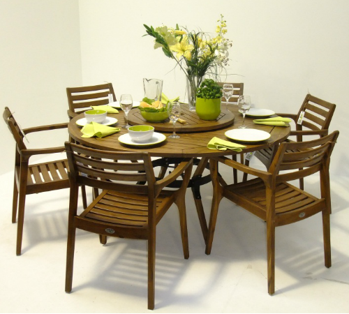 6 Seater Sunqueen Wood Dining Set with Lazy Susan