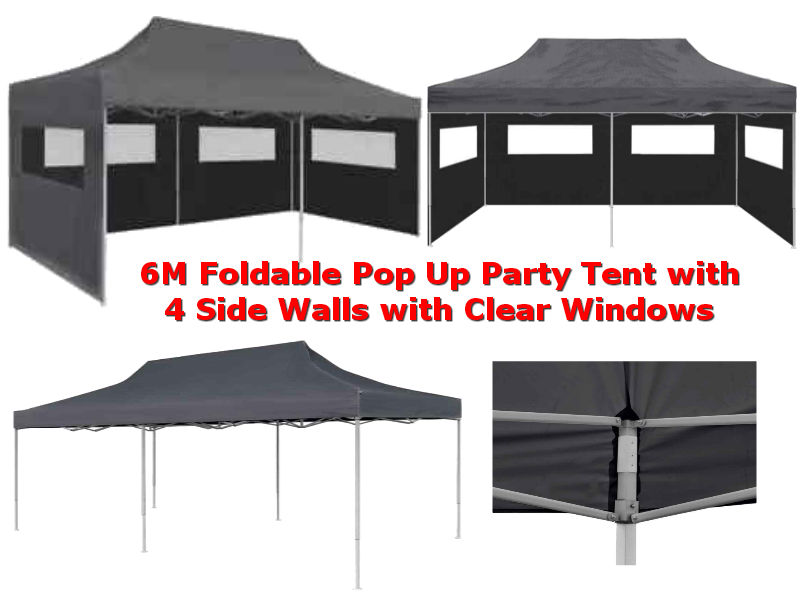 6M x 3M Anthracite Instant Pop Up Party Tent