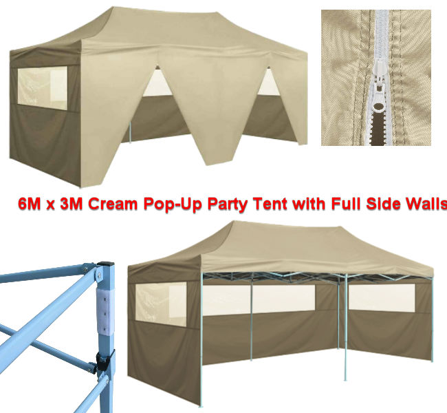 6M x 3M Cream Party Tent with All Side Walls