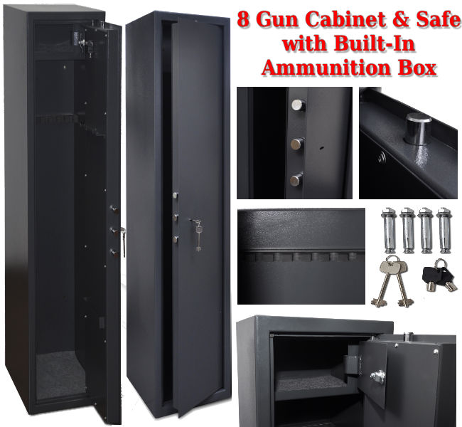 8 Gun Safe with Built-In Ammunition Box