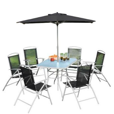 8 Piece Steel and Silver & Black Textilene Dining Set (Offer)