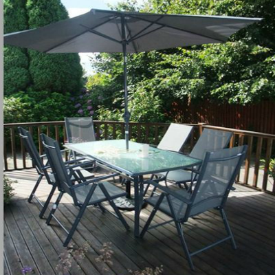 8 piece aluminium textilene set greygrey with frosted glass - Garden Furniture Ireland