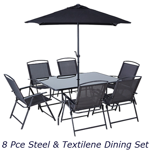8 Piece Steel & TextiIene Dining Set: (All Black)
