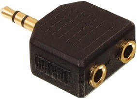 3.5mm Stereo Plug to 2X 3.5mm Straight Socket Adaptors: (2 Pac