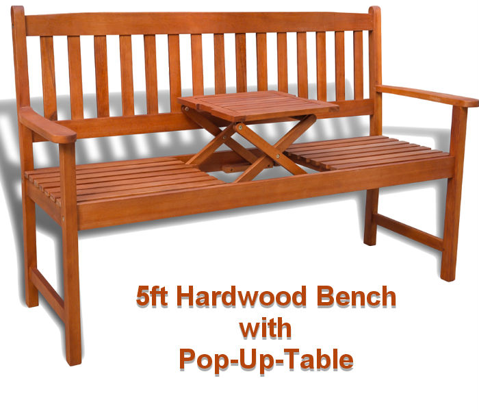 5ft Hardwood Garden Bench with Pop-Up-Table