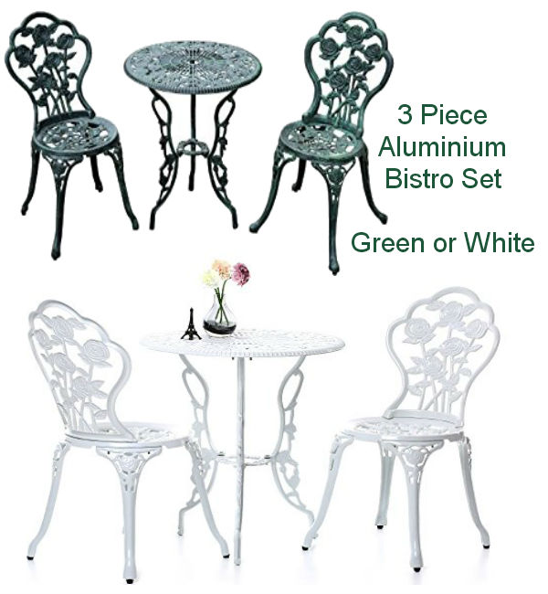 Cast Aluminium 3 Piece Bistro Set (Green or White)