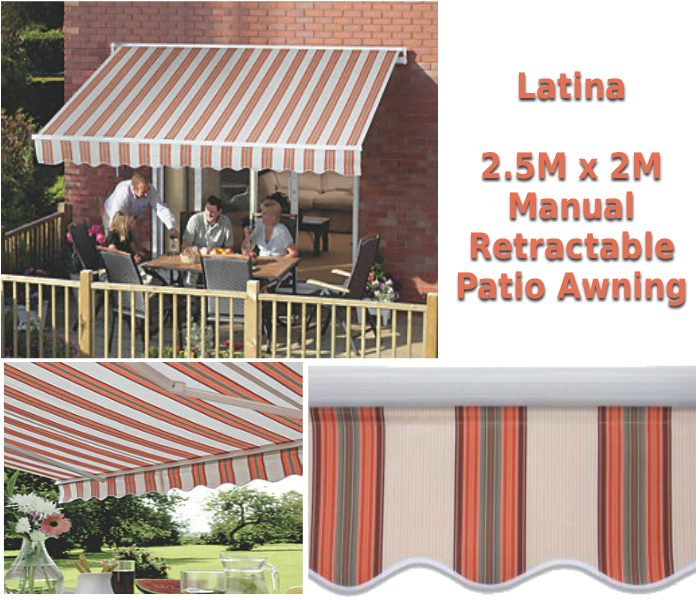 2.5M x 2M Latina Terracotta Stripe