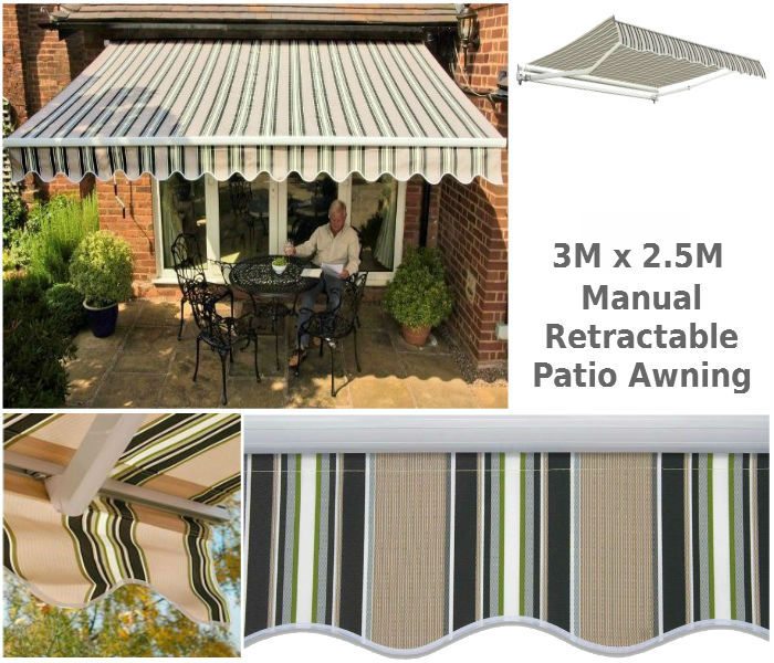 3M x 2.5M Retractable Patio Awning
