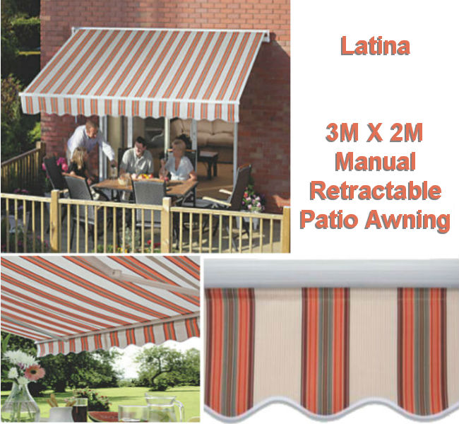 3M x 2M Retractable Patio Awning.