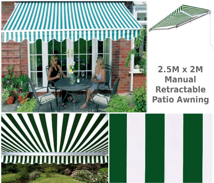 2.5M x 2M Stripe Patio Awning