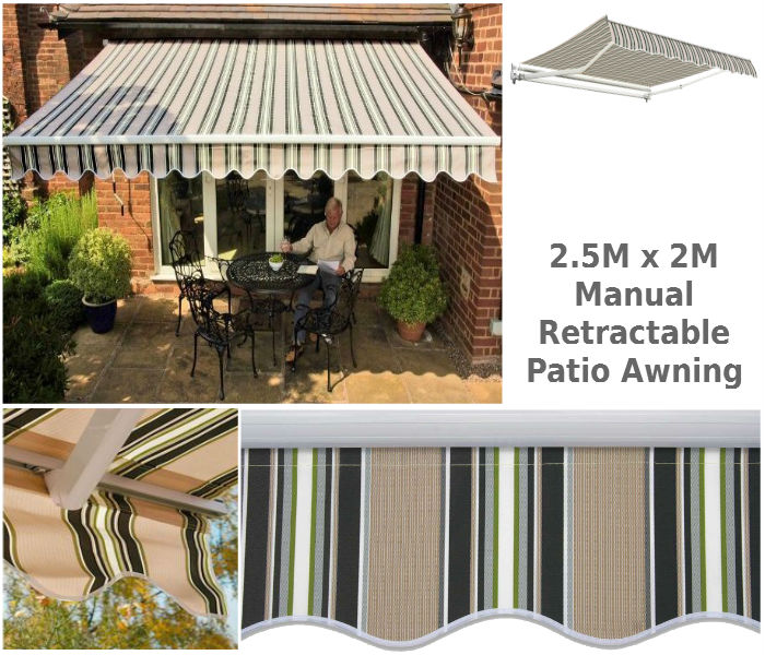 25M X 2M Striped Patio Awning
