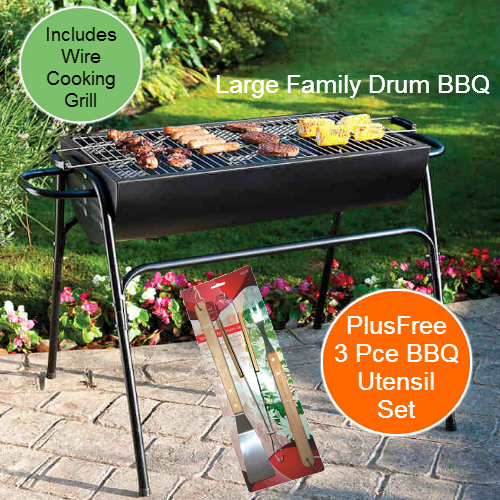 Family Drum BBQ - Includes Free BBQ Utensil Set