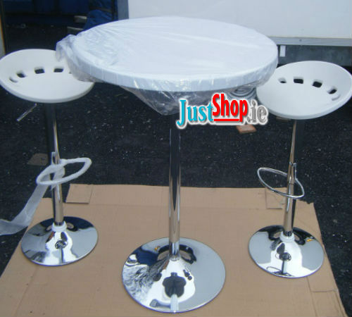 Chrome High Table with 2 High Stools - Beer & Bar Table