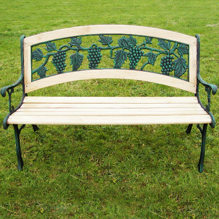 Cast Iron Bench with Grape Design