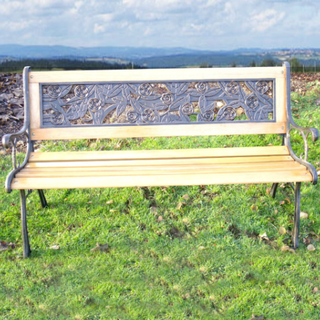 Rose Design Stone Resin Bench