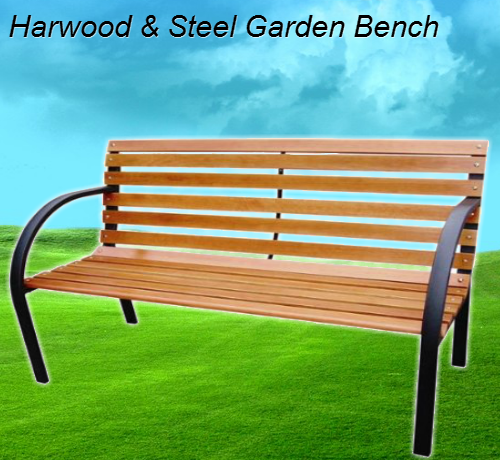 Hardwood & Steel Garden Bench