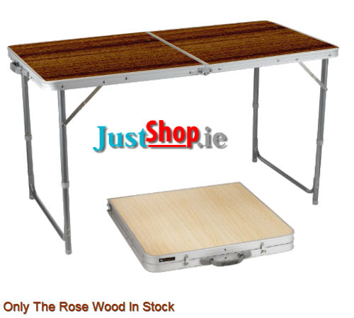 Folding Camping Table - 120cm/4ft with Rosewood Effect Top