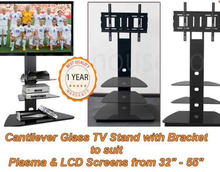 Cantilever Glass TV Stand with Swivel Bracket - 85cm