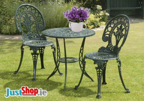 Cast Aluminium 3 Piece Bistro Set (Green)