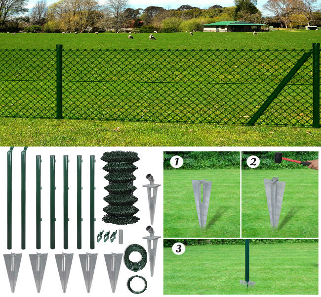 1M x 15M Chain-Link Fence - Posts & Spike Anchors