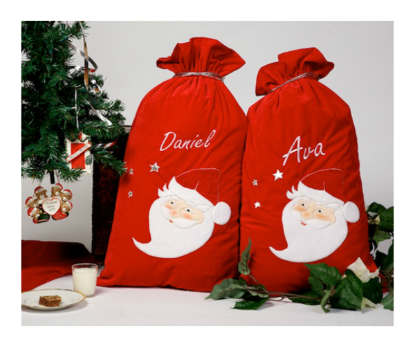 Personalised Large Velvet Santa Sack with Drawstring