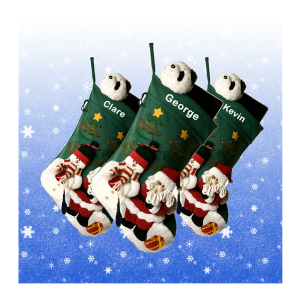 Extra Large 3-D Green Stocking with Santa & Snowman
