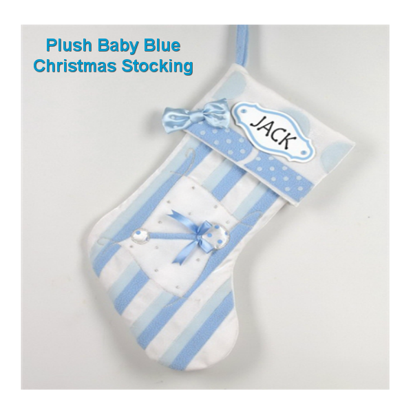 Personalised with Pen - Baby Blue Christmas Stocking
