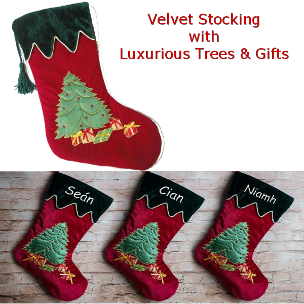 Personalised Velvet Christmas Stocking - Tree and Gifts