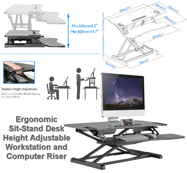 Ergonomic Height Adjustable Sit-Stand Desk Workstation